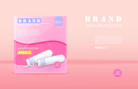 Menstrual cycle sanitary tampons advertisement package with place for brand. Vector