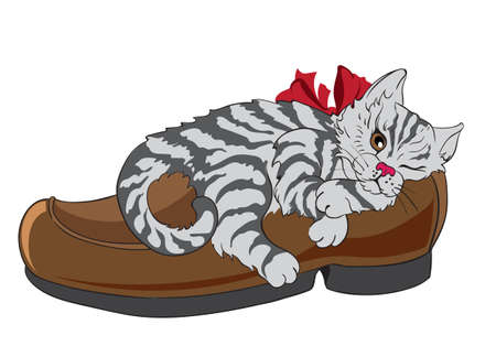 Little fluffy zebra cat with bow tie sleeping in a shoe. Vector