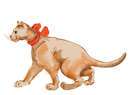 Watercolor ginger cat with red bow tie walking to the side. Vector