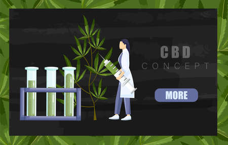 Woman in laboratory making a research on cannabis with big syringe and chemistry tube with cbd extract. Black background Vector 向量圖像