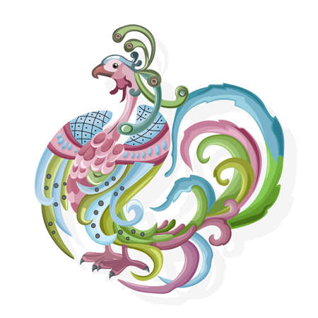 Abstract shape peafowl with colorful feathers and ornaments. Vector