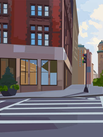 City intersection composition with traffic light and pedestrian crosswalk. Vector Vector Illustration