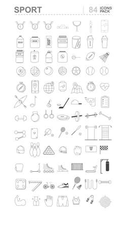 Sport icons pack with medals, protein, equipment, football, dumbbells, heart rate watch and clothes. Line art Vector