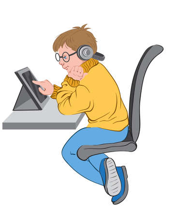 Little boy with glasses and headphones plays in tablet while sitting at his desk. Vector