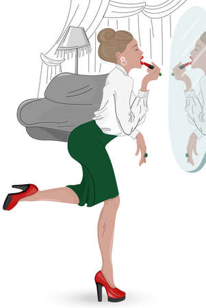 Young elegant woman in hurry painting her lips in the mirror. Wearing red high heels and green skirt. Vector