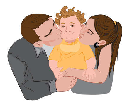 Mother and father are kissing their little kid on his cheeks. Vector