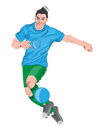 Young man playing football. Colorful clothes and boots. Vector