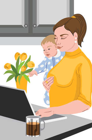 Mother with her baby in her hands working at the laptop, near a vase full with tulips, and drinking coffee. Vector