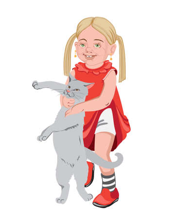 Blonde kid in red clothes playing with a cat. Annoying the pet. Vector