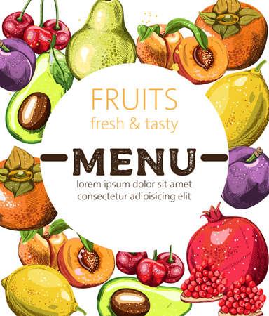 Fresh and tasty fruits menu template with place for text. Avocado, cherry, peaches, pomegranate, orange. Vector Illusztráció