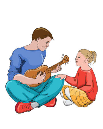 Father playing guitar with his daughter. Colorful clothes. Vector