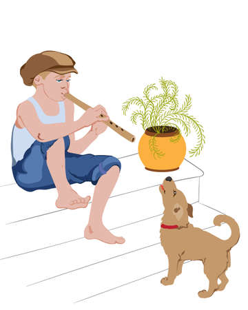 Young boy sitting on stairs and singing on pipe with his dog. Vector