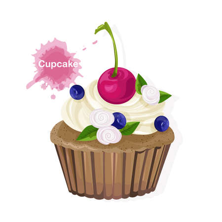 Brown cupcake with white cream ornaments, cherry, blueberries and flowers. Vector Illusztráció