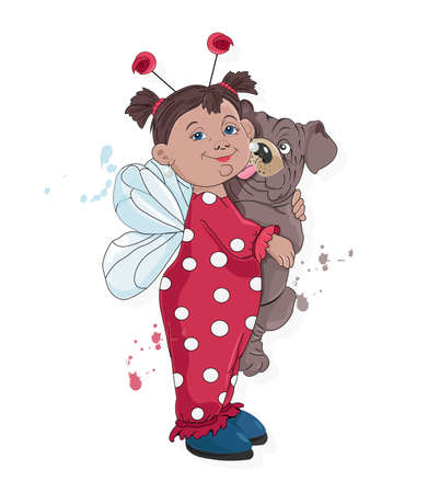 Little kid in ladybug clothes holding pug dog licking her. Vector