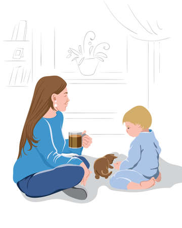 Mother peacefully watching her kid play with a little kitten while drinking a cup of coffee.Vector Illusztráció