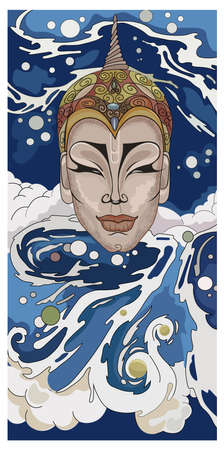 Abstract drawing of a woman s head with water and waves flowing around her. Power idea. Vector