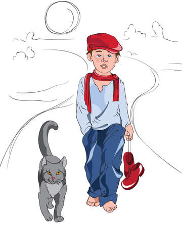 Little cartoon boy with red and blue clothes walking on a path with cat. Vector