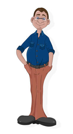 Cartoon mature man with glasses in blue shirt and pants. Vector