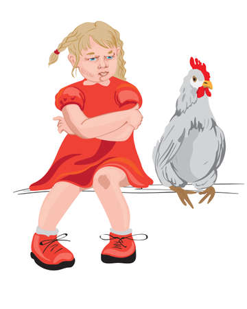 Little girl and a chicken sitting on a bench. Red clothes. Vector