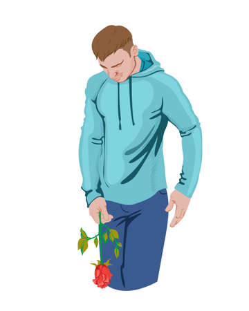Desperate man looking down and holding a rose in his hand. Blue sport clothes. Vector Фото со стока - 146509838