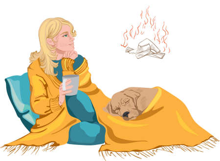 Woman and dog under yellow blanket relaxing by a fireplace, thinking and drinking from a cup. Vector