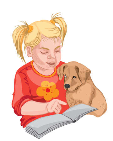 Little girl and puppy reading a book. Blonde hair and red clothes. Vector