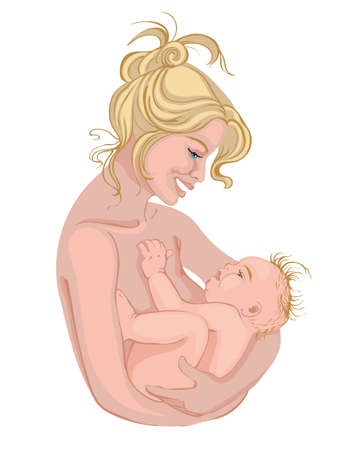 Naked blonde mother smiling and holding her baby. Vector Illustration
