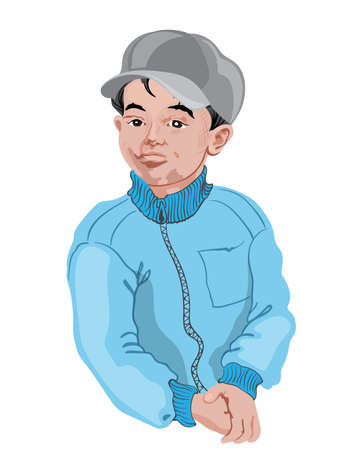 Young boy in white shirt posing. Black hair. Drawing. Vector