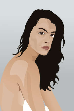 Portrait of a young naked brunette girl with a tender face. Vector