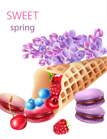 Waffle cone filled with blueberry, cherries, raspberries, strawberries and macarons, with some lilac flowers
