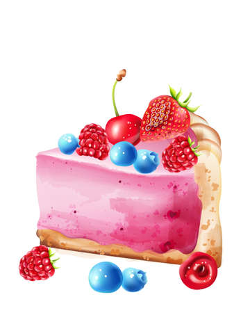 Piece of berry cheesecake with blueberry, strawberry, raspberry and cherries topping