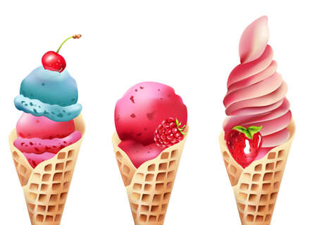 Set of waffle cone ice cream with cherry, raspberry and strawberry topping. Vector Vector Illustratie