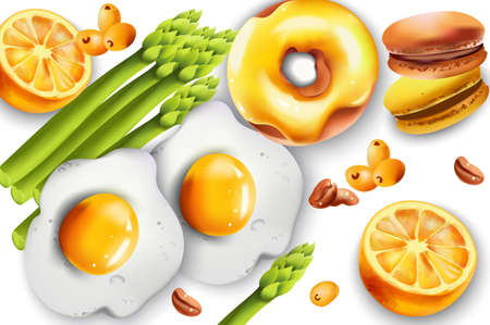 Healthy breakfast set with fried eggs, asparagus, donut, macaron sweets, lemons, coffee beans and pyracantha yellow berries. Vector Ilustracja