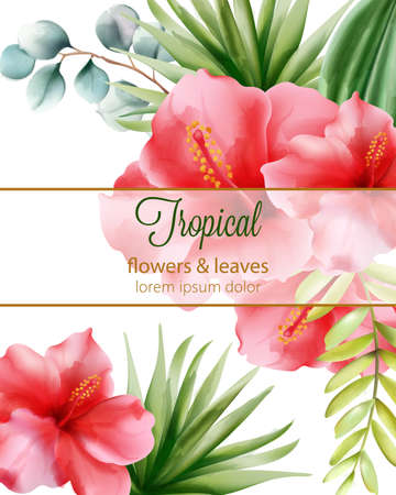 Red hibiscus. Palm leaves. Tropical flowers and leaves with place for text