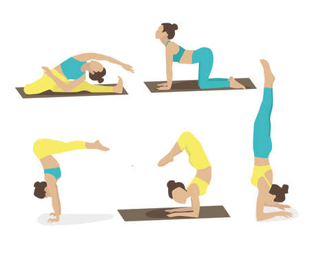Set of young woman performing yoga poses in turquoise and yellow sport clothes