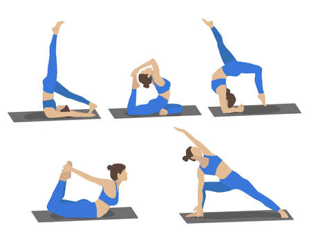 Set of young woman performing yoga poses in blue sport clothes. Cartoon