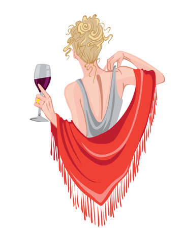 Elegant woman with glass of wine in hands waving with red scarf. View from behind. Curly blonde hair