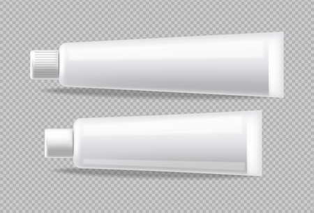 White tubes Vector realistic isolated. Advertise empty container. Cosmetics, Medicine or tooth paste 3d detailed illustration Ilustração Vetorial