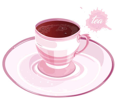Pink cup of black tea on saucer. Elegant drinking. Vector