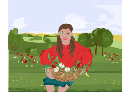 Happy woman with red lips and jacket sitting on grass while holding on her lap a basket with flowers. Mountains on background. Vector