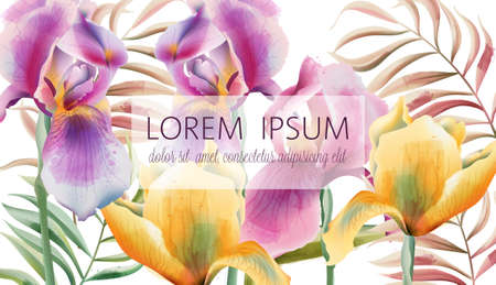 Iris flowers and tropical leaves pattern with place for text. Watercolor