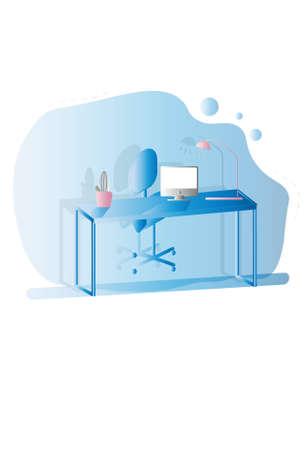 Home office desktop illustration. Cold colors. White background. Vector