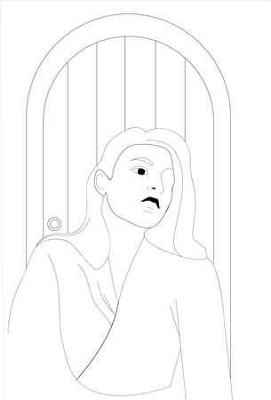 Girl posing in front of a door. Linear drawing. Black and white