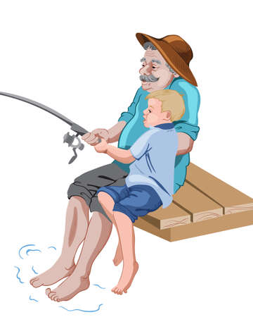 Old grandfather fishing with his grandson while sitting on wood pier Ilustración de vector
