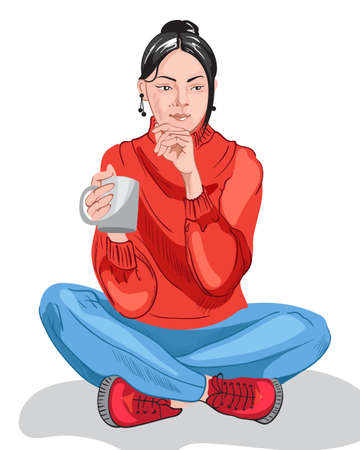 Thoughtful young girl in colorful red sweater and blue pants drinking from a cup Illustration