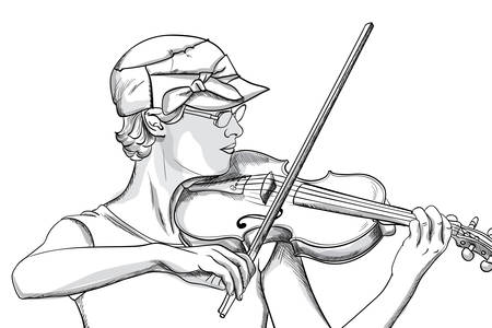 Young woman with glasses and hat playing o violin. Line art
