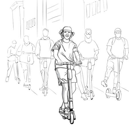Young group of happy men riding on electric scooter in the city. Line art Vektorové ilustrace