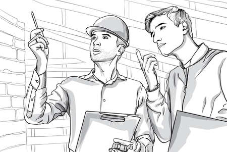 Two serious man on construction site talking. Thoughtful people. Line art. Vector