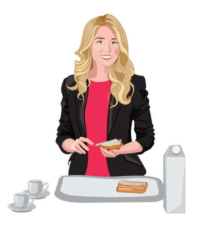 Happy blonde woman dressed in black jacket and pink blouse spreading some butter on bread. Cups, milk and bread on white table. Vector
