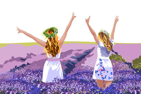 Two blonde women in white dresses with floral crowns on head standing in lavender field with their hands up 向量圖像